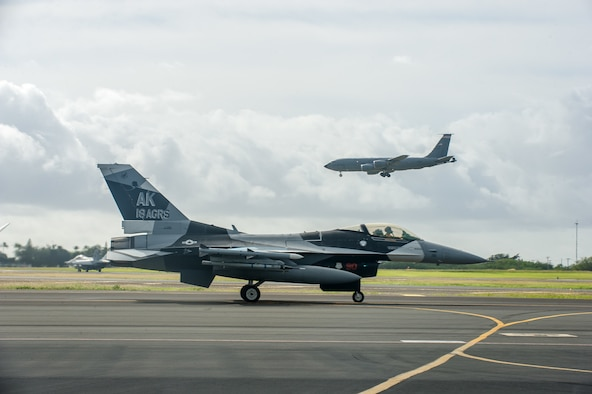 An F-16 Fighting Falcon, assigned to the 18th Aggressor Squadron, taxis down the flight line Jan. 17, 2020, at Joint Base Pearl Harbor-Hickam, Hawaii, during exercise Sentry Aloha 20-1. The Falcon, and other combat aircraft, received in-air refueling from KC-135 Stratotankers, from the 128th Air Refueling Wing, Wisconsin Air National Guard, throughout a series of dissimilar-air-combat-training missions. Sentry Aloha is a Hawaii Air National Guard-led exercise, which provides participants a multi-faceted, joint venue with supporting infrastructure and personnel. (U.S. Air National Guard photo by Senior Airman John Linzmeier)