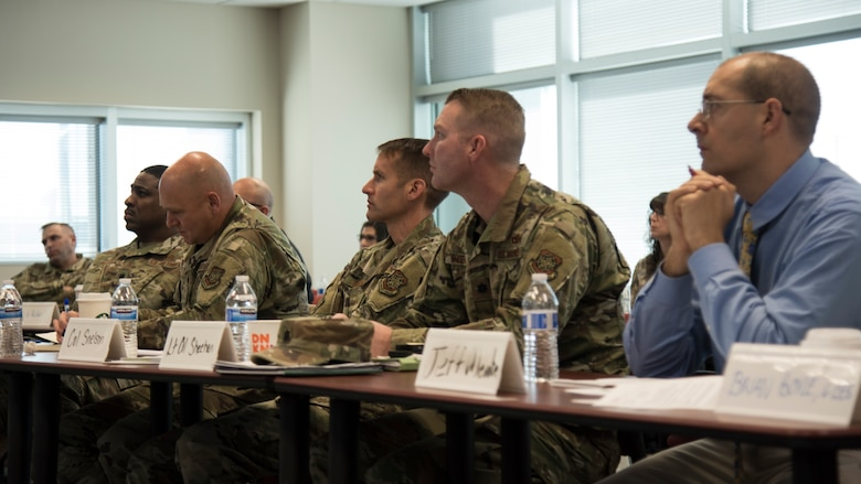 6th Air Refueling Wing leaders listen to a proposal during MacDill Pitch Day Jan. 22, 2020, in, Tampa, Fla.  The event resulted in three contracts being awarded to small businesses for a combined $325,000 in less than 24 hours.
