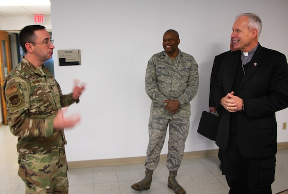 932nd Airlift Wing Chaplain (Maj.) Michael Williams greets special guest Bishop Richard Spencer, the Roman Catholic Auxiliary Bishop for the Archdiocese of Military Services, who visited Scott Air Force Base recently.