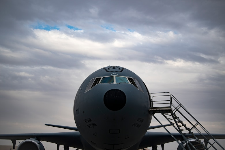 A U.S. Air Force KC-10 Extender assigned to the 908th Expeditionary Air Refueling Squadron rests on the flight line at Al Dhafra Air Base, United Arab Emirates, Jan. 11, 2020.