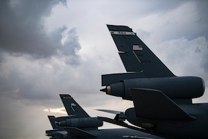 U.S. Air Force KC-10 Extenders assigned to the 908th Expeditionary Air Refueling Squadron rest on the parking ramp at Al Dhafra Air Base, United Arab Emirates, Jan. 11, 2020.