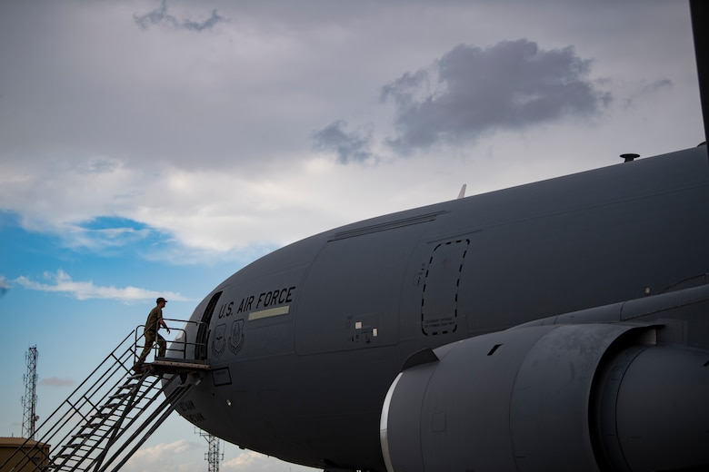 A U.S. Air Force KC-10 Extender aircrew member assigned to the 908th Expeditionary Air Refueling Squadron conducts preflight checks at Al Dhafra Air Base, United Arab Emirates, Jan. 11, 2020.
