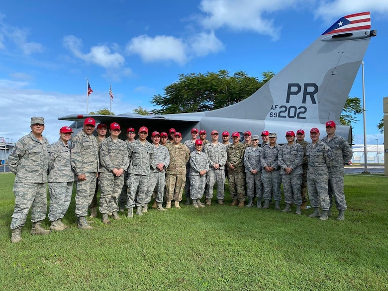 U.S. Air Force Airmen, with the Puerto Rico Air National Guard's 156th Mission Support Group, host the Joint Reception, Staging, Onward Movement and Integration process at Muñiz Air National Guard Base,  Puerto Rico, Jan. 17, 18 and 22, 2020. Airmen from Ohio and New Mexico Air National Guard Rapid Engineer Deployable Heavy Operational Repair Squadrons arrived at Muñiz ANGB to in-process and deliver Disaster Relief Bed-down Sets to be used in municipalities affected by the Jan. 7 earthquakes in the southwest region of the island. (U.S. Air National Guard courtesy photo)