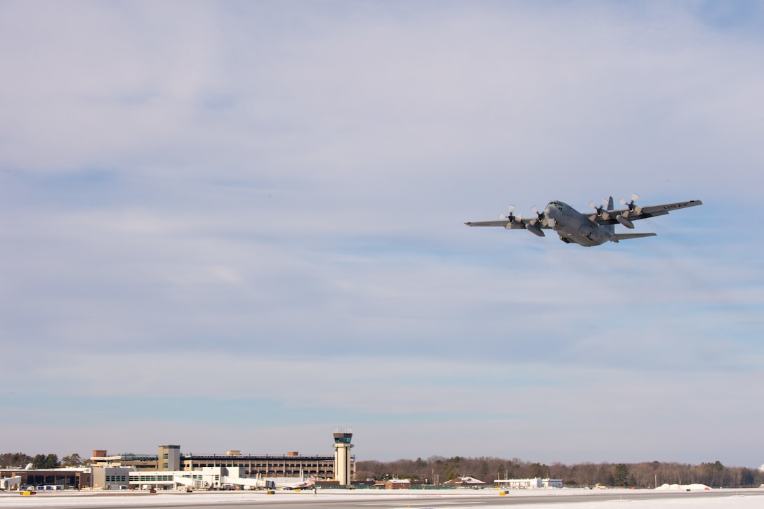 Members assigned to the 158th Fighter Wing, Vermont Air National Guard, take off from the Burlington Air National Guard Base, Vermont, in a C-130 Hercules, from the Montana Air National Guard, Jan. 22, 2020. More than 100 158th FW Airmen traveled to Eglin Air Force Base, Florida, to participate in a training event, titled Southern Lightning, to support flying operations and develop their skills during the training. (U.S. Air National Guard photo by  Master Sgt. Michael Davis)