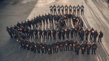 Romanian Soldiers celebrate unity day at eFP Battle Group Poland