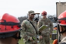 3rd Platoon 68th Engineer Construction Company  Battalion Commander 1st Lt. Omotoyosi Oyedeji briefs troops in preparation for a simulated urban rescue at Guvalle Water Treatment Plant, Austin, Texas, as part of Exercise Sudden Response (SR) 20.