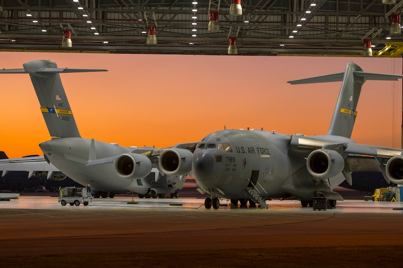Two C-17 Globemasters wait in the Home Station Check hanger for a 180 day inspection Oct. 21, 2019, at Joint Base Charleston, S.C.