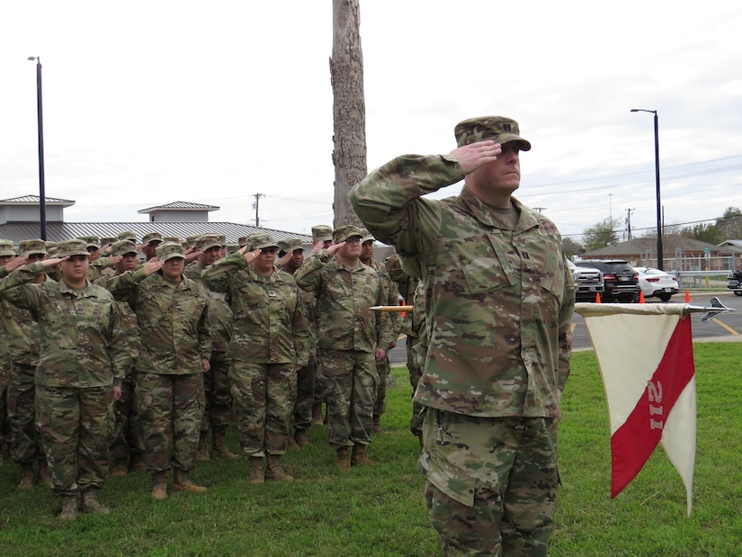U.S. Army Reserve Soldiers case their colors, prepare for deployment