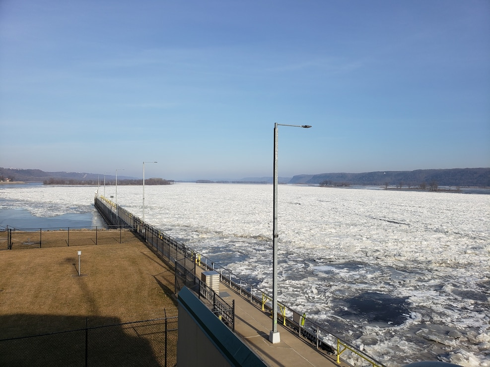 Ice dams form on the Upper Mississippi River near Lock and Dam 6, near Trempealeau, Wisconsin.