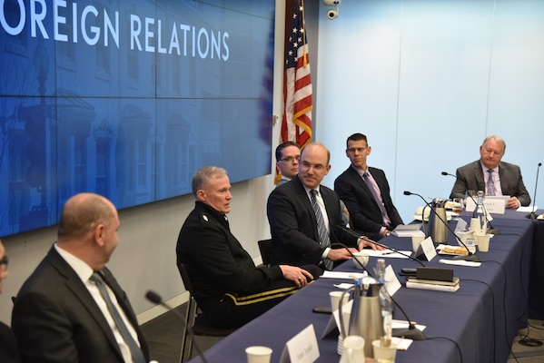 As part of the Defense Intelligence Agency's effort to increase partnerships with subject matter experts in the private sector, DIA Director Lt. Gen. Robert Ashley Jr. visited the Council on Foreign Relations' regional office in Washington, D.C., for a roundtable discussion. (DIA Photo by Chris Van Dam/Released)