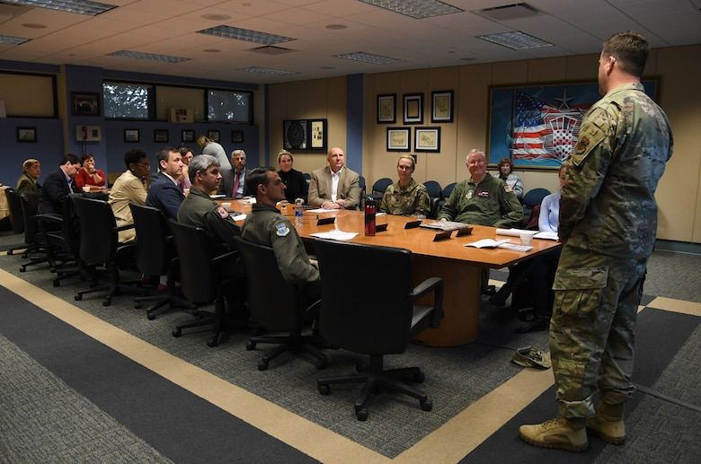 U.S. Air Force Col. Lance Burnett, 81st Training Wing vice commander, delivers the 81st TRW mission overview to guests during the airspace sustainability tour inside Cody Hall at Keesler Air Force Base, Mississippi, Jan. 23, 2019. Keesler hosted the community engagement for civic leaders to discuss Keesler's flying mission requirements in order to create processes which informs key decision makers regarding local development and to ensure compatible economic growth for the surrounding communities. (U.S. Air Force photo by Kemberly Groue)