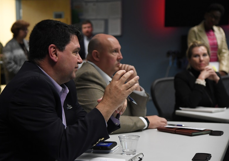 Peter Abide, Biloxi, Mississippi, city attorney, asks questions during a brief on imaginary surfaces during the airspace sustainability tour inside Cody Hall at Keesler Air Force Base, Mississippi, Jan. 23, 2019. Keesler hosted the community engagement for civic leaders to discuss Keesler's flying mission requirements in order to create processes which informs key decision makers regarding local development and to ensure compatible economic growth for the surrounding communities. (U.S. Air Force photo by Kemberly Groue)