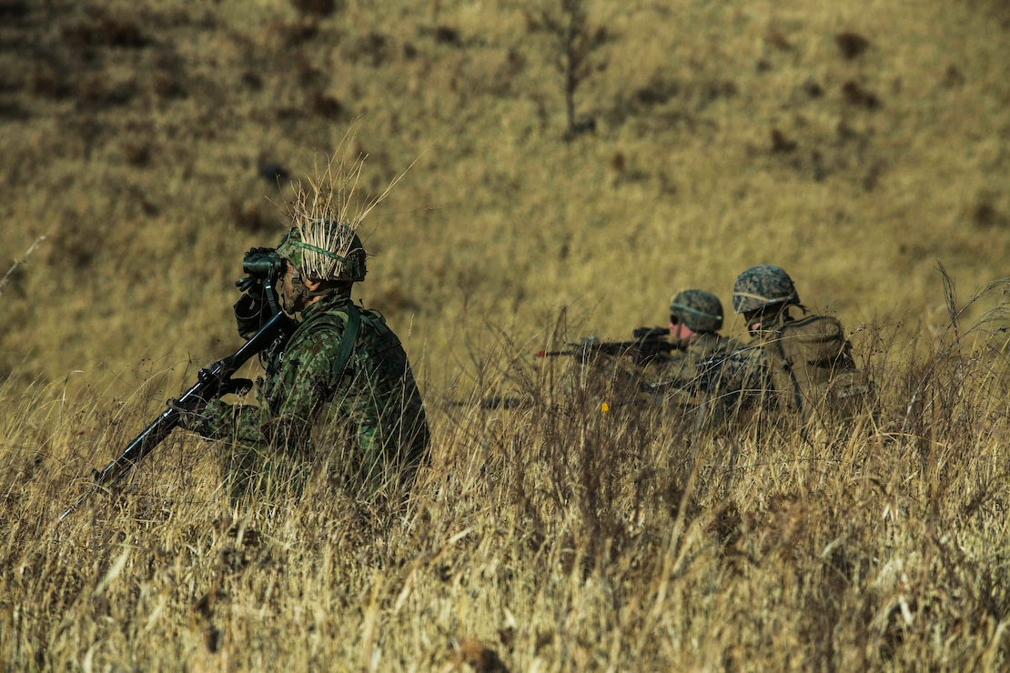 Marines provide security during a bilateral vertical assault for Exercise Forest Light Western Army at Camp Oyanohara, Kumamoto, Japan, Jan. 23.
