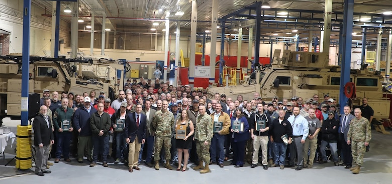 Letterkenny Army Depot thanks its workforce for completing the 828 of the newest configuration of Mine Resistant Ambush Protected RG31 vehicles.