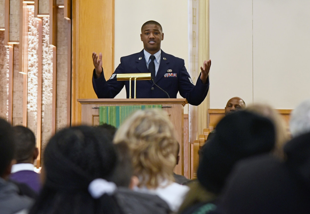 "Staff Sgt. Justin Brothers, with the 507th Logistics Readiness Squadron, performed two original poetry readings, ""Thank You"" and ""How"" during the Dr. Martin Luther King, Jr. Celebration at the Tinker Chapel Jan. 16. As a symbol for justice and racial equality, Dr. Martin Luther King, Jr. Day is observed as a federal holiday the third Monday of January each year. (U.S. Air Force photo/Kelly White)"