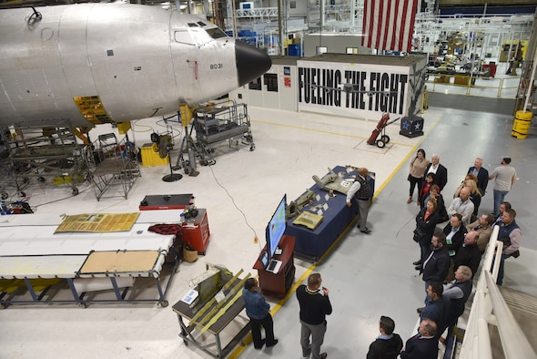 Members of Leadership Oklahoma, a statewide leadership program, received an integrated tour of Tinker Jan. 9. They were able to learn about the Navy's TACAMO mission and receive a tour of an E-6B Mercury, hear about new and ongoing innovations in the 76th Software Engineering Group and R.E.A.C.T. Lab, learn about programmed depot maintenance on the KC-135 line (shown here) and see an E-3 Sentry airborne warning and control system aircraft and hear about the 552nd Air Control Wing's mission. (U.S. Air Force photo/Kelly White