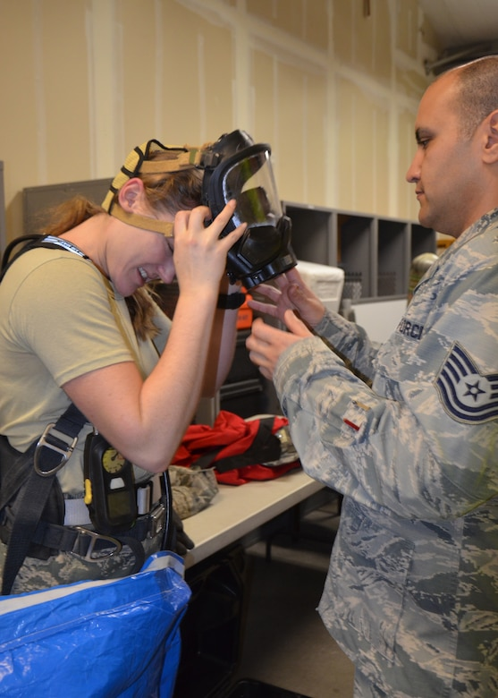 2nd Lt. Rebecca Smith, 9th Aerospace Medicine Squadron Deputy Flight Commander of Bioenvironmental Engineering, removes her mask after conducting HazMat ID training Jan. 24, 2020 at Beale Air Force Base, California (Courtesy U.S. Air Force photo by Capt. Jenell Brown)