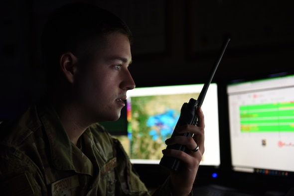Senior Airman Corbyn Peterson, 341st Operational Support Squadron weather forecaster, answers a radio device Jan. 9, 2020, at Malmstrom Air Force Base, Mont.