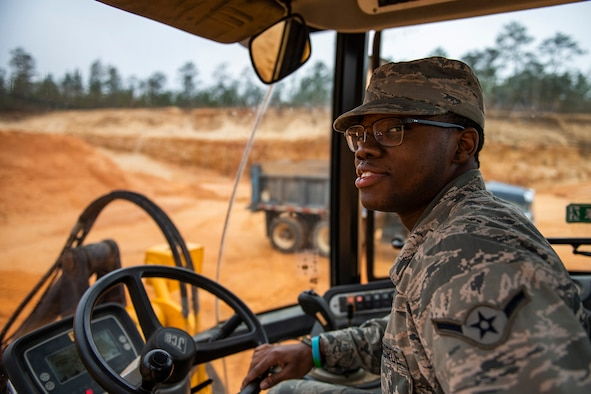 Airman 1st Class Eric Johnson, 919th Special Operations Civil Engineer Squadron pavements and heavy construction equipment specialist, trains on a bulldozer, Jan. 11, 2019, Duke Field, Fla.