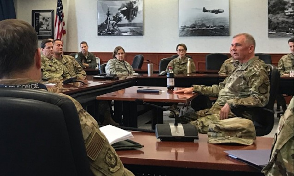 "Air Force District of Washington Commander Maj. Gen. Ricky N. Rupp recently visited U.S. Naval War College, known as the ""Home of Thought"" where he met with about 56 students and faculty to discuss promotion system changes, leadership philosophies, and other areas of interest with future senior leaders.  (U.S. Air Force photos/Capt. Jonathon Ashley)"