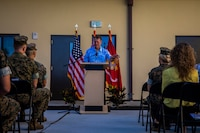 U.S. Congressman Ed Case (Hawaii - District 1), House Appropriations, Subcommittee on Military Construction, speaks to Service members and guests during the Bachelor Enlisted Quarters (BEQ), Bldg. 7251, Untying Maile Lei ceremony, Marine Corps Base Hawaii, Jan. 24, 2020. The BEQ provides Marines with berthing that fully incorporates industry advancements since the Second World War, and looks toward meeting the 38th Commandant's Planning Guidance and the Defense Policy Review Initiative. Guests in attendance included Col. Raul Lianez; Col. Stephen Lightfoot; Rep. Ed Case; Mr. Carlos Santa, Community Liaison (Sen. Hirono); Mr. Brandon Garay, Military Liaison (Rep. Gabbard); CAPT Marc Delao; Mike Steinthal and Nick James, Construction Superintendent, Absher Constr. (U.S. Marine Corps photo by Cpl. Matthew Kirk)