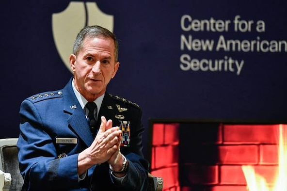 Air Force Chief of Staff Gen. David L. Goldfein during an appearance, Jan. 27, 2020, at the Center for a New American Security, emphasized the importance of a strong presence in space and the need to harness data. Both, he said, are central to ensuring that the Air Force is able to meet and prevail against modern-day threats. (U.S. Air Force photo by Eric Dietrich)