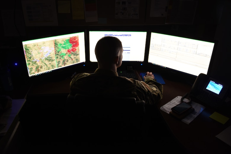 Tech. Sgt. David Murphy, 341st Operational Support Squadron weather NCO-in charge, examines various weather models Jan. 9, 2020, at Malmstrom Air Force Base, Mont.