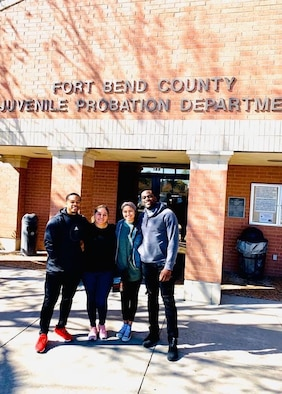 Cadet 2nd Class Prince Njoku joins friends and family to mentor teens at the Fort Bend Juvenile Facility in Texas recently. Njoku said it was important to remind the youths they still had value and opportunities to change their lives (Courtesy Photo).