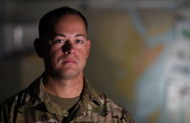 U.S. Air Force Tech. Sgt. Bill Reed, 82nd Expeditionary Rescue Squadron Det. 1 Tactical Air Control Party joint terminal attack controller, poses for a photo at Camp Lemonnier, Djibouti, Nov. 20, 2019. While deployed, Reed embeds with ground units to assess the need for and call in air support, if necessary. (U.S. Air Force photo by Staff Sgt. Alex Fox Echols III)