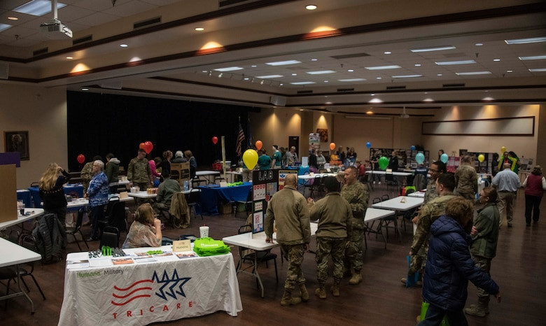 Members of the 97th Air Mobility Wing gather at the Freedom Community Center for the Wellness Expo 2020, Jan. 22, 2020, at Altus Air Force Base, Okla.