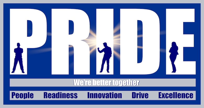 """Graphic shows the word pride, with silhouettes of people imposed on the letters. There is a starburst behind the word PRIDE. Underneath PRIDE is the motto: """"We're better together."""" At the bottom of the graphic, the words appear: People, Readiness, Innovation, Drive and Excellence."""