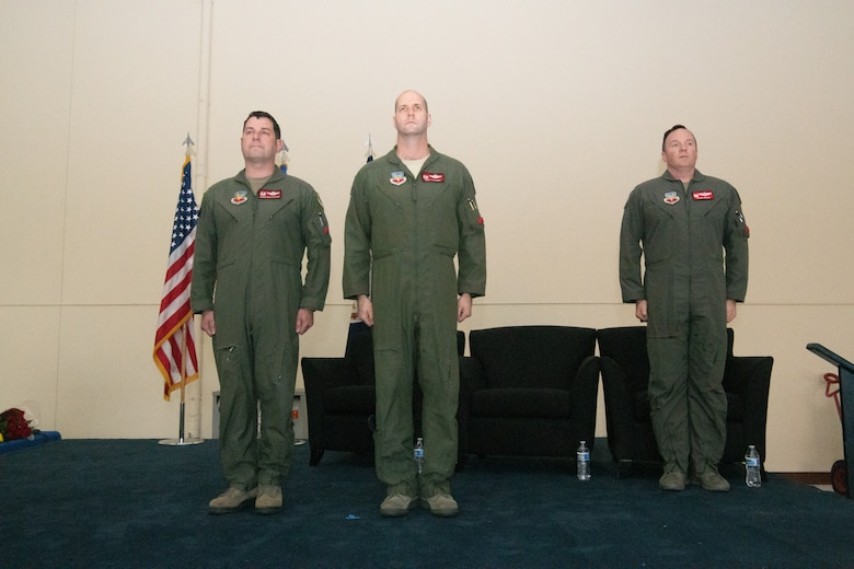 Airmen at a change of command ceremony