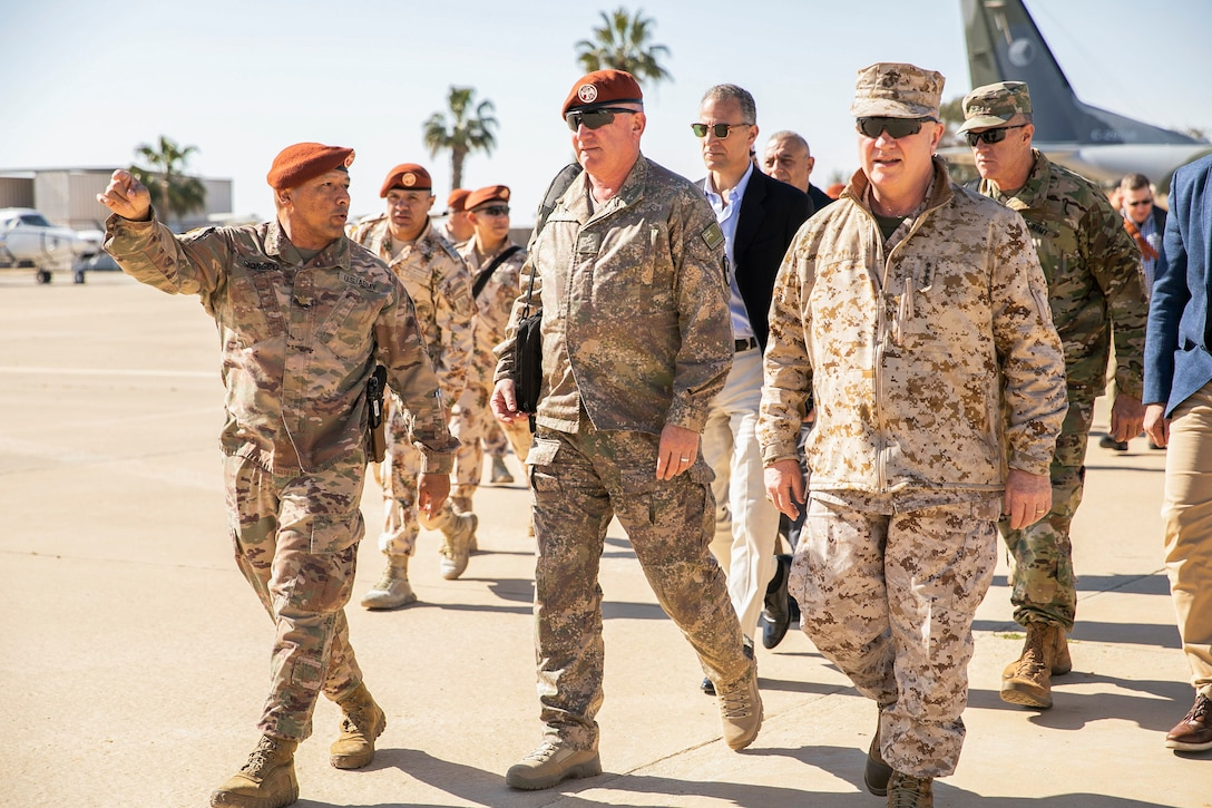 U.S. Marine Corps Gen. Kenneth F. McKenzie Jr., the commander of U.S. Central Command, front right, and New Zealand Maj. Gen. Evan Williams, the Multinational Force Observers Force Commander, front center, tour Forward Operating Base (FOB) North, Egypt, Jan. 26, 2020. (U.S. Marine Corps photo by Sgt. Roderick Jacquote)