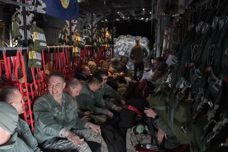 Members assigned to the 158th Fighter Wing board a C-130 assigned to the Montana Air National Guard