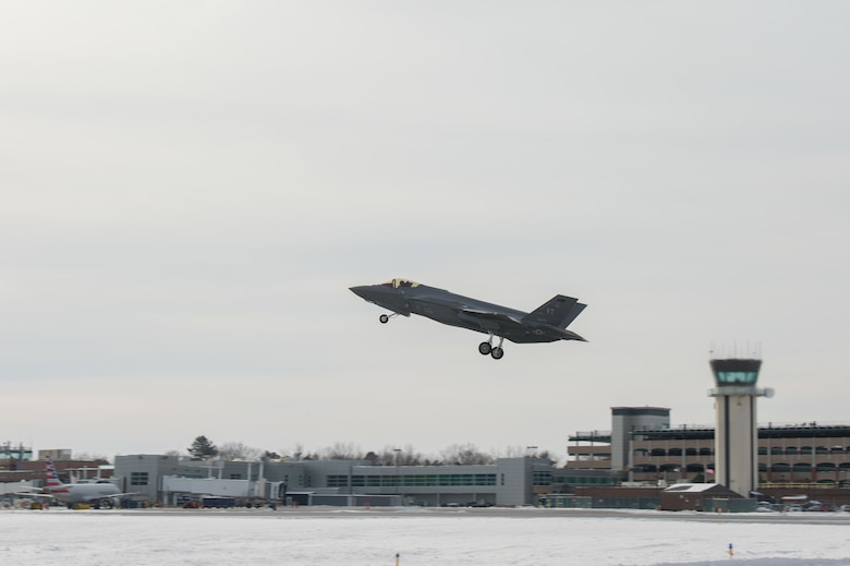 An F-35 assigned to the 158th Fighter Wing departs for training known as South Lightning