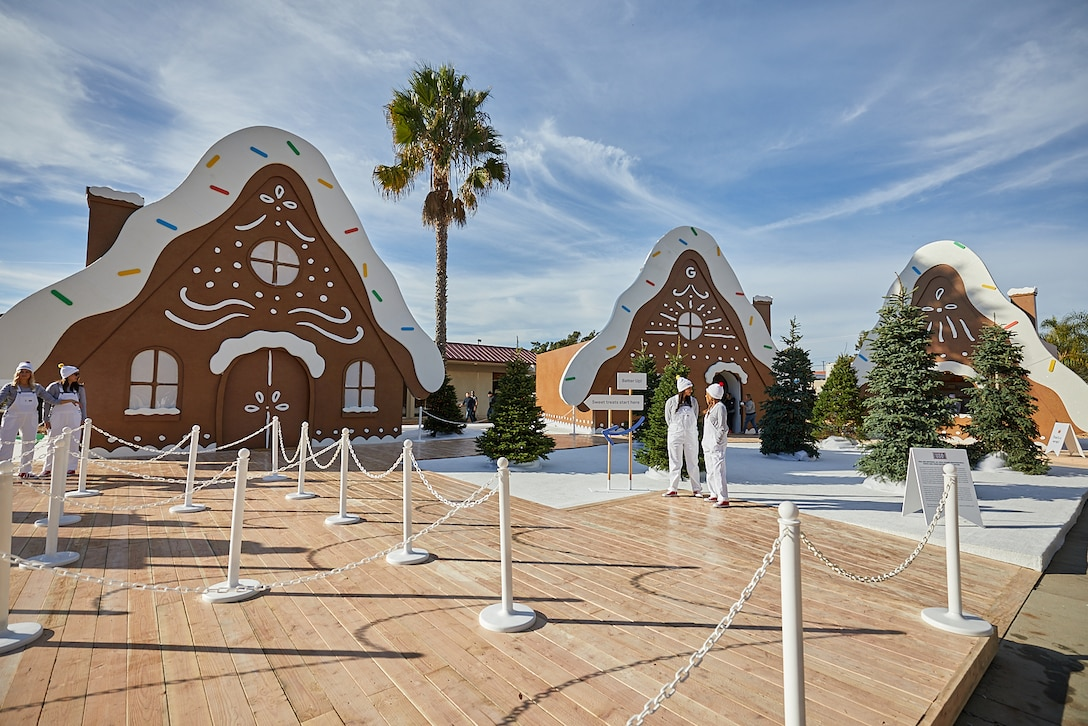 Life size outdoor gingerbread village