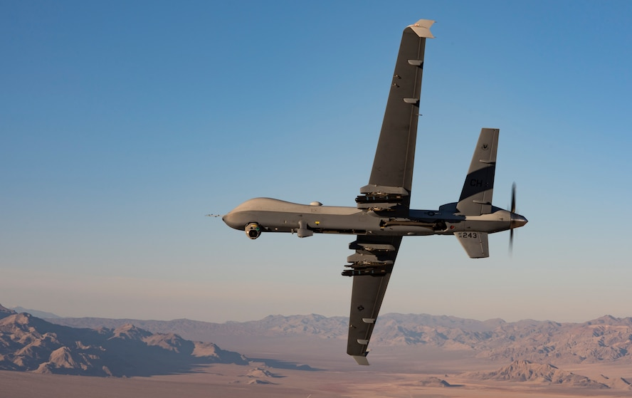 An MQ-9 Reaper flies over the Nevada Test and Training Range.