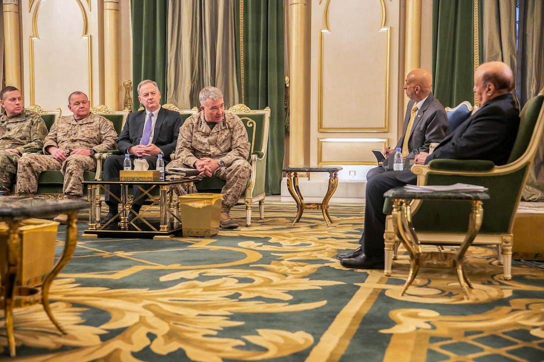 U.S. Marine Corps Gen. Kenneth F. McKenzie Jr., the commander of U.S. Central Command, center, meets with Abdrabbuh Mansur Hadi, the president of Yemen, far right, Jan. 28, 2019. (U.S. Marine Corps photo by Sgt. Roderick Jacquote)