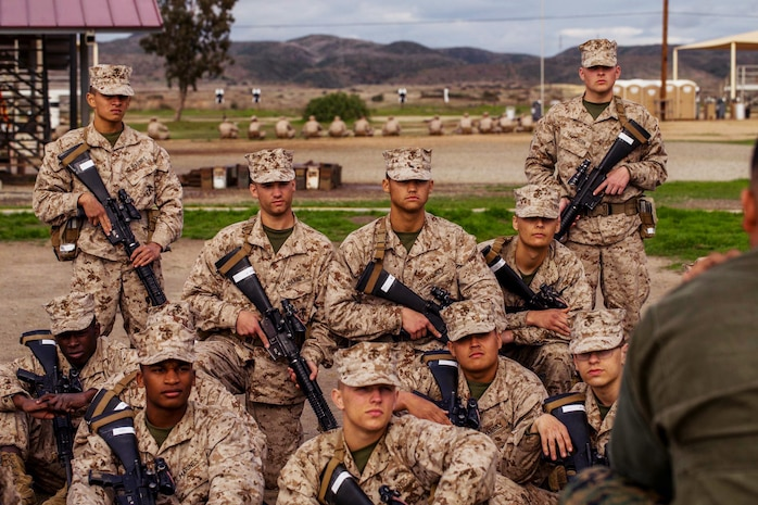 Recruits with Bravo Company, 1st Recruit Training Battalion, receive a marksmanship class at Marine Corps Base Camp Pendleton, Calif., Jan. 21, 2020.