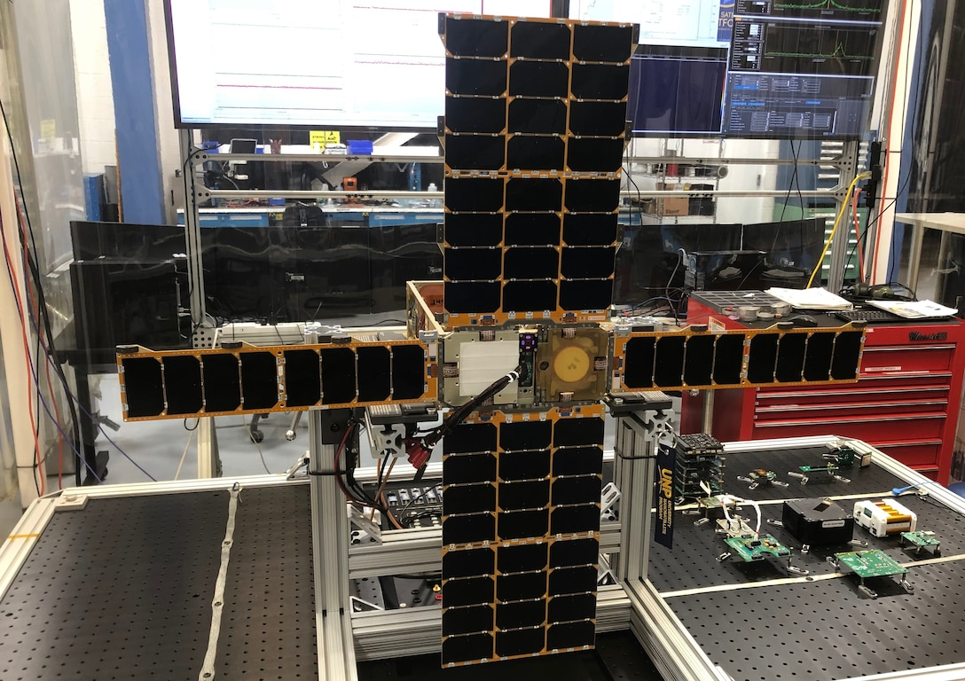 The Very Low Frequency Propagation Mapper with solar panels deployed, at the Air Force Research Laboratory on Kirtland Air Force Base N.M. Jan. 29, 2020. The VPM will be released from the International Space Station at 9:15 a.m. EST, Jan. 31 2020.  The release can be viewed on NASA TV at https:///www.nasa. (U.S. Air Force photo courtesy of Air Force Research Laboratory)