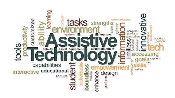 Graphic with Assistive Technology in the center with several other words around it.