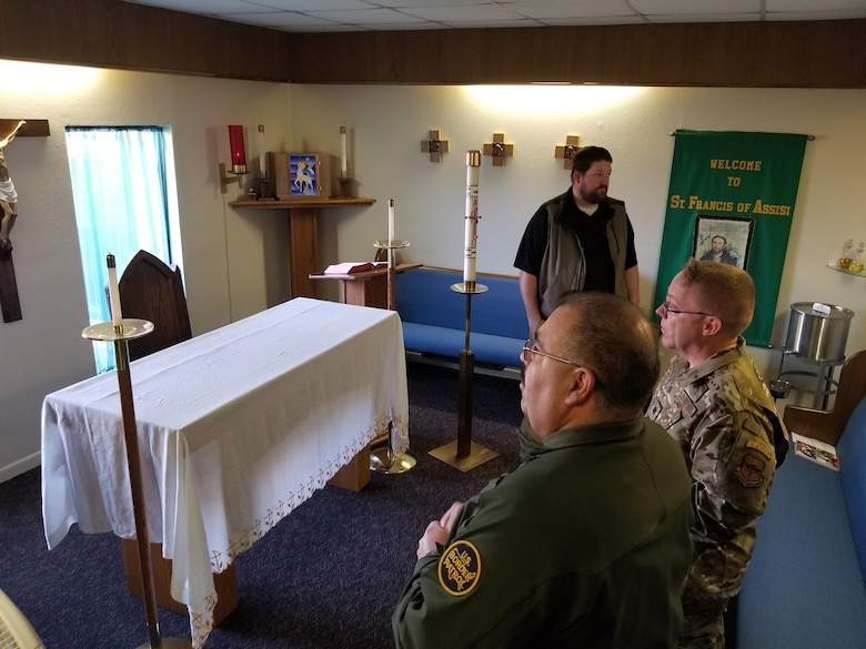 Laughlin Chapel staff and U.S. Customs and Border Protection chaplains tour the chapel at Laughlin Air Force Base, Texas on 27 Jan. 2020. The teams met for a round table discussion, went on a tour, spent some time in flight rooms seeing the nuts and bolts of the pilot training mission and then had lunch together. (U.S. Air Force photo by Joel Langton)