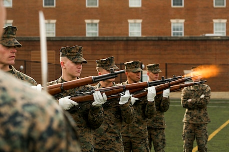 The Marines rehearse the sequence every week in preparation for upcoming funerals at Arlington National Cemetery.