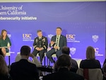 Brig. Gen. Hartman and Dave Imbordino speak at USC Election Security forum, Jan. 28, 2020.