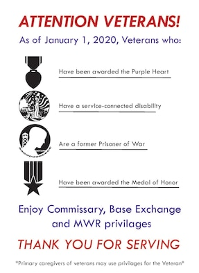 Commissaries, military exchanges and morale, welfare and recreation facilities are ready to welcome veterans with service-related sacrifices, as well as primary caregivers of veterans to enjoy the privileges of the new patronage expansion program.
