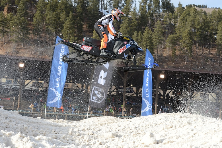Air Force sponsored Snocross driver Lincoln Lemieux gets some serious air during qualifying for the U.S. Air Force Snocross National in Deadwood, South Dakota.