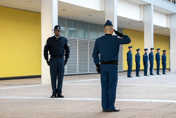 Master Sgt. Marcus Coley, a military training instructor, observes cadet training at the U.S. Air Force Academy, Jan. 29, 2020. The Academy is adding five MTIs to its Cadet Wing staff to enhance the military training program (U.S. Air Force photo/Trevor Cokley).