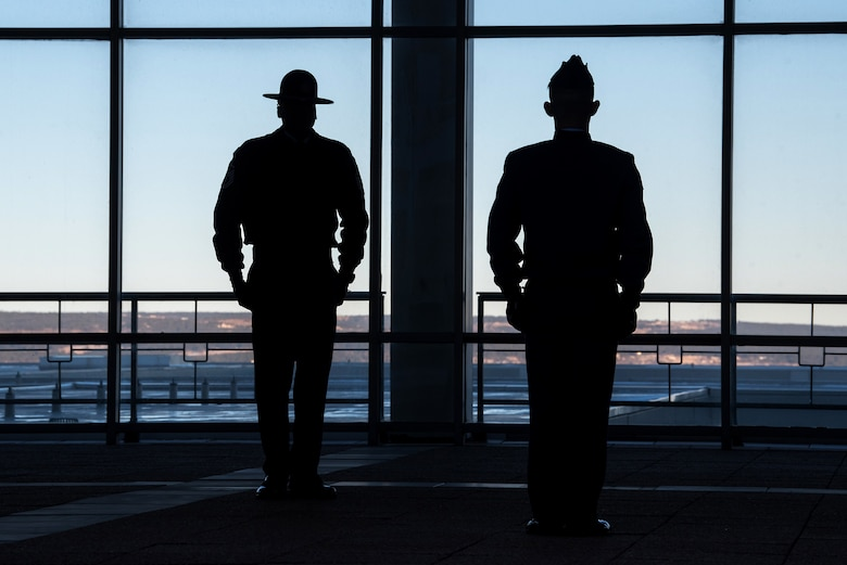 Master Sgt. Marcus Coley, a military training instructor, pictured with a cadet at the U.S. Air Force Academy, Jan. 29, 2020, is the first MTI stationed here since 2009. The Academy is adding five MTIs to its Cadet Wing staff to enhance the military training program (U.S. Air Force photo/Trevor Cokley).