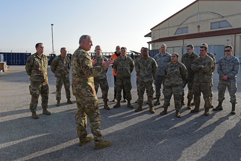 U.S. Air Force Maj. Gen. John Gordy, U.S. Air Force Expeditionary Center commander, speaks to Airmen from the 724th Air Mobility Squadron about their contributions to the mission during a site visit at Aviano Air Base, Italy, Jan. 24, 2020. The 724th AMS consists of a combat readiness flight, passenger and aircraft services section, air mobility control center and an air terminal operation center.
