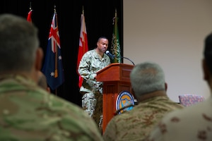 Rear Adm. Alvin Holsey, commander of the International Maritime Security Construct (IMSC), delivers remarks during a change of command ceremony for the IMSC. Holsey was relieved by Royal Navy Commodore James Parkin during the ceremony. IMSC maintains the freedom of navigation, international law, and free flow of commerce to support regional stability and security of the maritime commons.